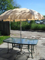 Patio Table W/ Umbrella, Stand And Base