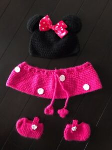 Soft Knit Minnie Mouse Baby Costume Photo Prop. 0-12 months size