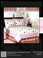 Twin bedding set - pink and brown