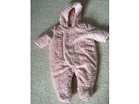 Pink faux fur Snowsuit 0-3 months