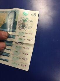 Rare AA serial £5 notes