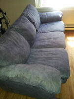 MUST BE GONE BY JUNE 1ST!! Large Blue Suede Couch