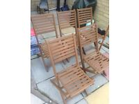 Garden chairs and parasol x5