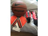 Adidas goalie gloves s-m, basketball and Nike (m) shin pads