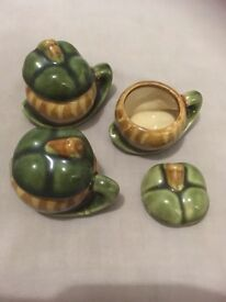 3x small china pots