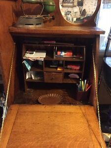 Antique drop down oak desk and book shelves Kawartha Lakes Peterborough Area image 4