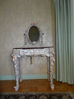 Vanity table with a mirror