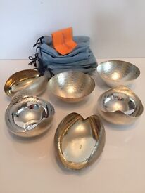 Silver plated mixed mini bowls x 6