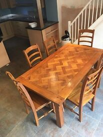 High quality hand made mango wood table and 6 chairs