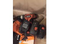 Aeg drill with 4 batteries (spares or repairs)