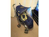 MACLAREN TECHNO XLR BUGGY PUSHCHAIR with footmuff + raincover + double sided insert great blue/lemon