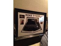 MIKE TYSON SIGHNED SHORTS AND PICTURES FRAMED AS NEW