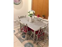 Shabby Chic Wooden Dining Table & 4 Chairs