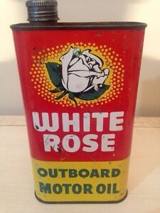 White Rose Imperial quart outboard motor oil tin can sign gas