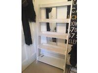 White Wooden Ladder Shelf Storage