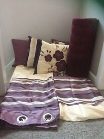 Purple and cream curtains, cushions and rug