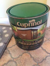 Cuprinol wood preserver.