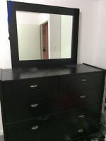 Dressing Table with Mirror and Nightstand Black