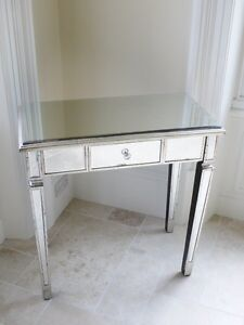 ANTIQUE SILVER VENETIAN MIRRORED GLASS 1 DRAWER DRESSING CONSOLE TABLE