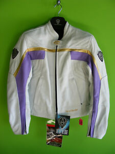 Arlen Ness Ladies Leather Jacket - White and Purple at RE-GEAR