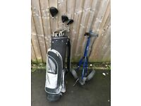 Golf bag with trolley and clubs