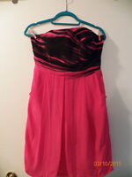 'Claude Brown' Hot Pink/Black Strapless Dress, Worn Once! Size 8