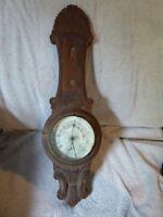 Antique Newfoundland folk art hand-carved barometer