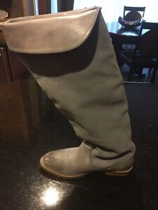 Leather & Suede Riding Style Fold Over Boot Size 7.5