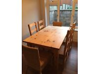 6 seater table and chairs handmade pine