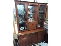 WALL DISPLAY UNIT IN BEAUTIFUL WOOD- WITH WORKING LIGHTS