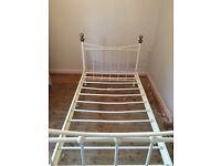 Ornate cream single metal bed frame