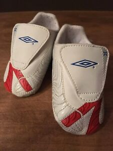 Boy's Size 4 White & Red Soft Sole Runners (Baby)