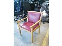 Red Leather And Wooden Framed Low Back Chair