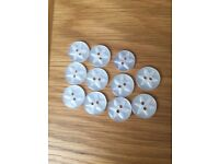 Set of 11 white buttons *new*