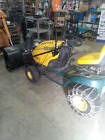 Riding lawn mower with snow blower
