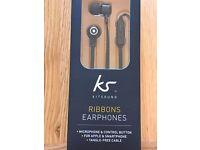 Kitsound Black Earphones with microphone