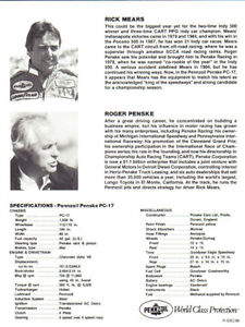 Rick Mears 3x Indy 500 Winner Autographs Colour Photo& H/W Note London Ontario image 2