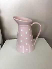 Solid pink polka dot vase
