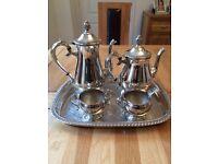 Silver plated coffee/tea set plus tray