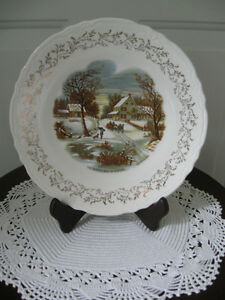 ...A BEAUTIFUL CURRIER & IVES DECORATIVE CAKE PLATE...