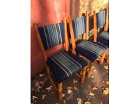 Vintage retro antique Danish oak blue stripy wool kitchen dining chairs x 1 2 4 5