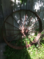 Antique Iron Farm Implement Wheel 40""