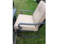 Stunning set of four chairs with as new cushion and firepit table