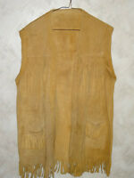 Handmade Moose hide? Large Size Leather Vest with tassles - L@@K