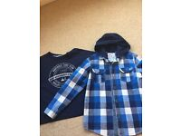 Boys 2 Piece Hooded shirt with top, Age 7 Years