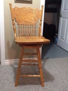 2 - mint condition solid oak bar stools