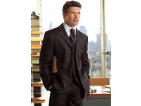 Tom English Black-Grey Lightly Pinstriped Stretch Comfort Suit Jacket.Size 40S.