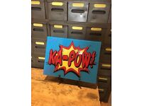 Vintage retro style ka pow comic strip glass picture print mancave kids room decoration
