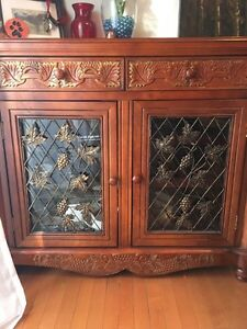 Solid wood wine cabinet $280