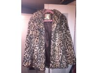 Faux fur leopard print jacket size 10